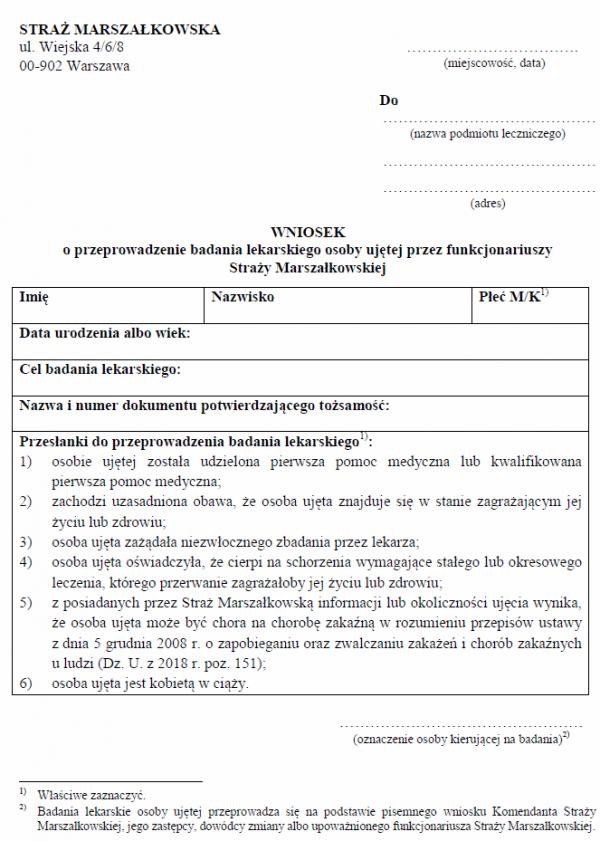 Wniosek o przeprowadzenie badania lekarskiego osoby ujętej przez funkcjonariuszy Straży Marszałkowskiej