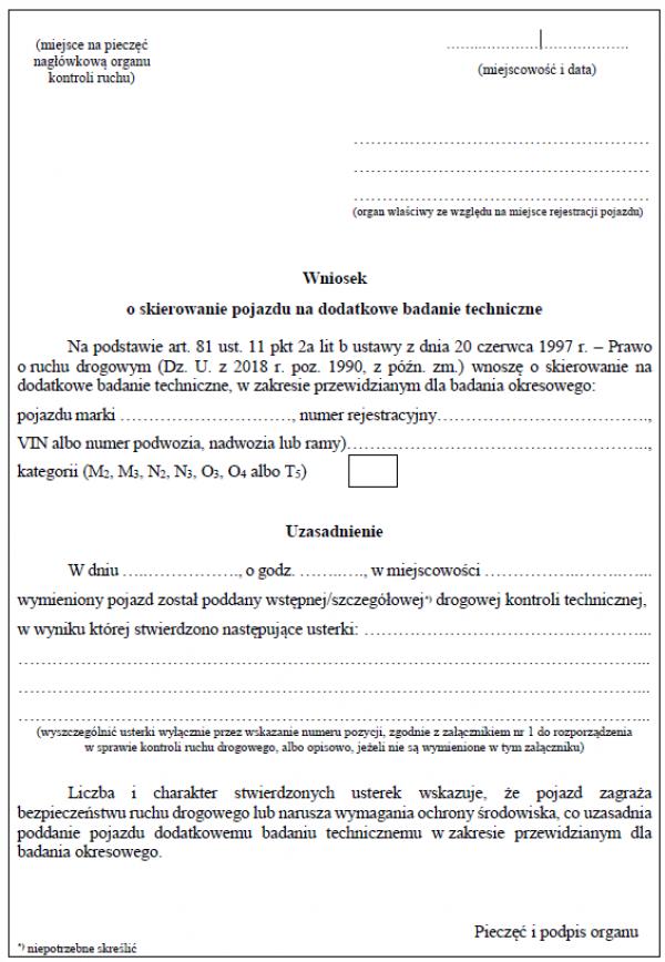 Wniosek o skierowanie pojazdu na dodatkowe badanie techniczne