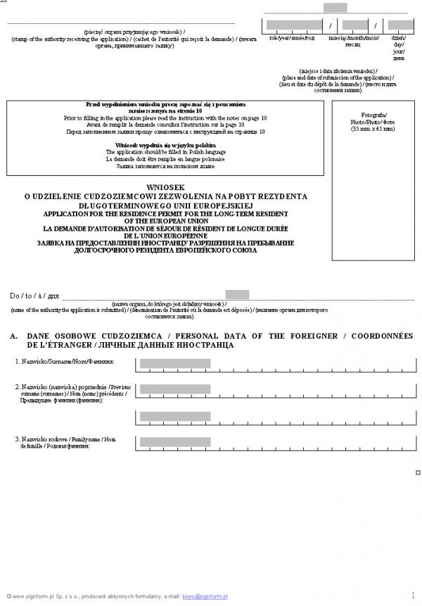 Wniosek o udzielenie cudzoziemcowi zezwolenia na pobyt rezydenta długoterminowego Unii Europejskiej