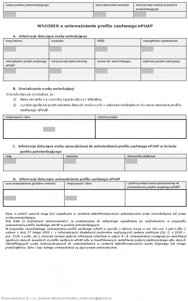 Wniosek o unieważnienie profilu zaufanego ePUAP