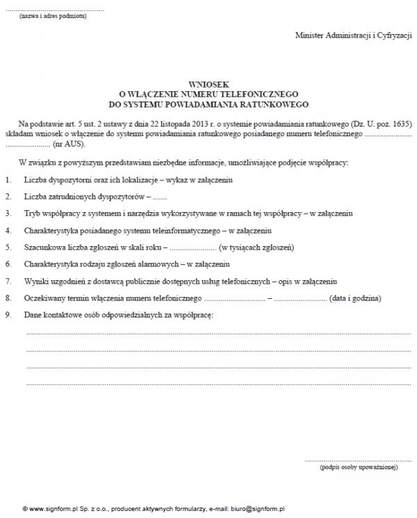 Wniosek o włączenie numeru telefonicznego do systemu powiadamiania ratunkowego