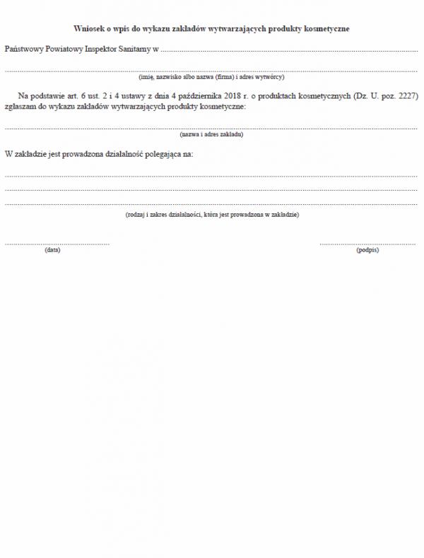 Wniosek o wpis do wykazu zakładów wytwarzających produkty kosmetyczne