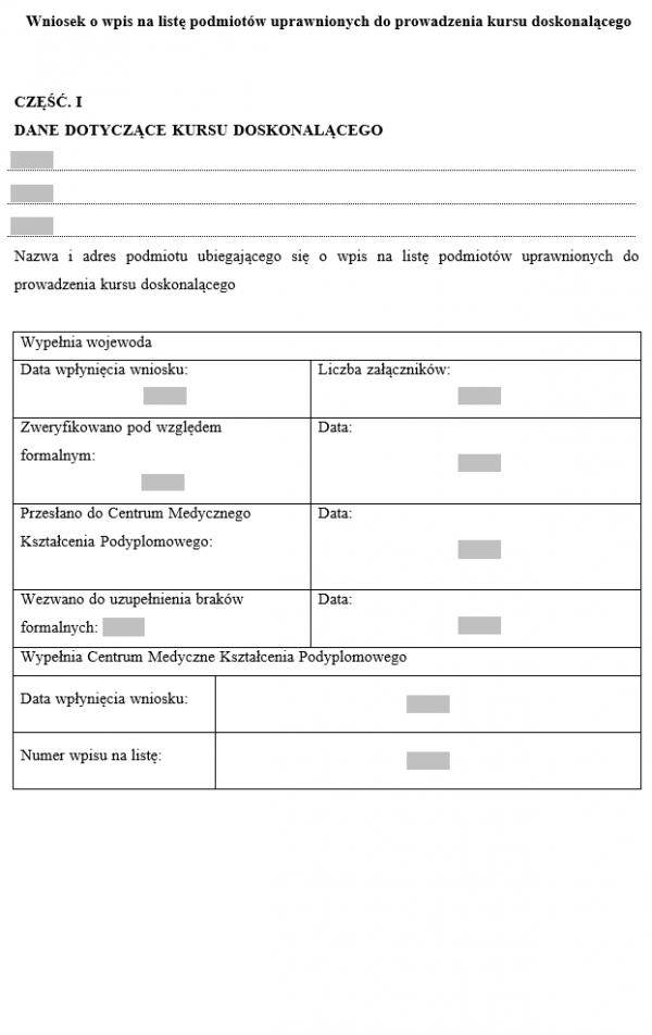 Wniosek o wpis na listę podmiotów uprawnionych do prowadzenia kursu doskonalącego dla dyspozytorów medycznych