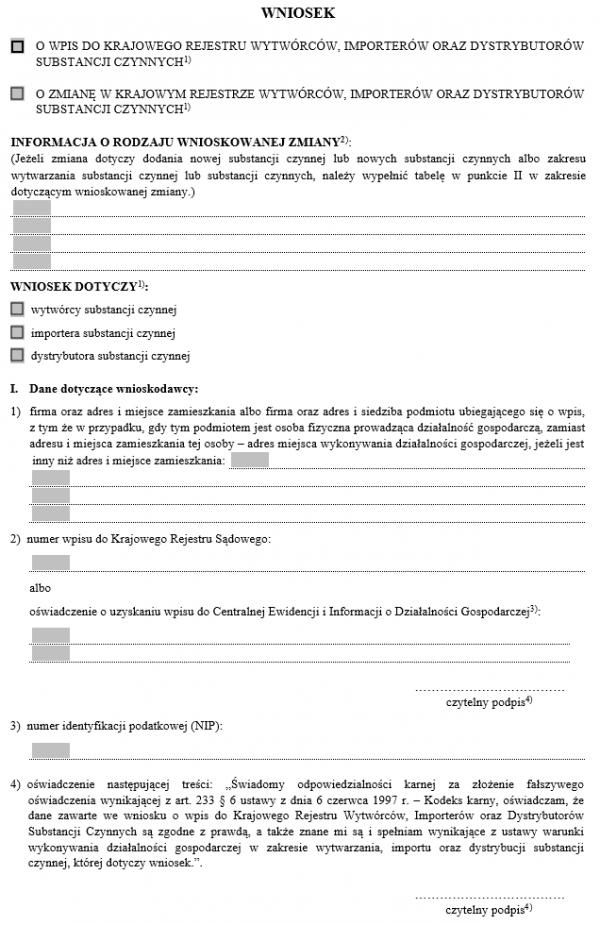 Wniosek o wpis/zmianę w Krajowym Rejestrze Wytwórców, importerów oraz dystrybutorów substancji czynnych