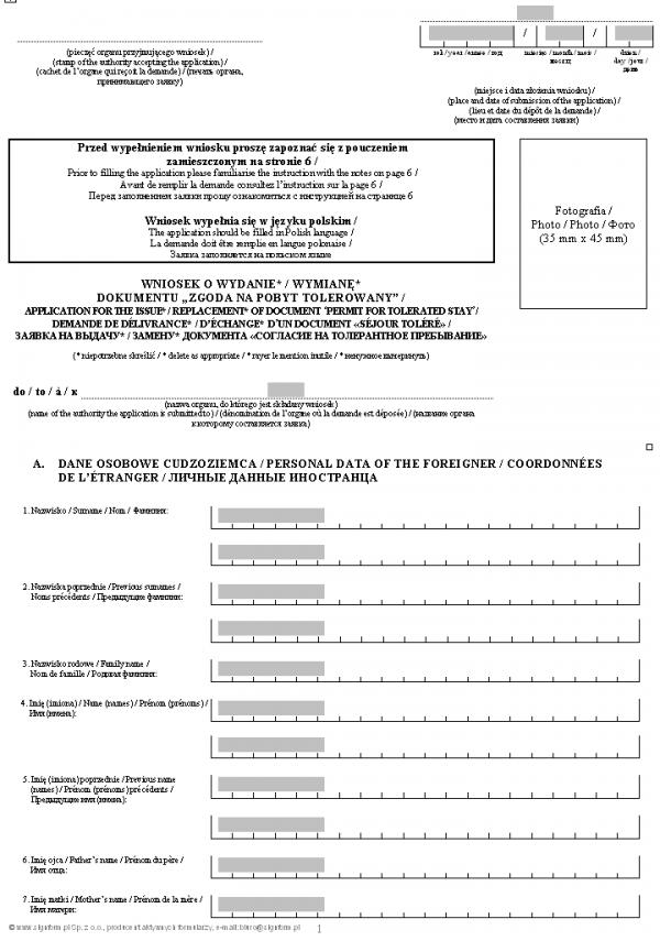 """Wniosek o wydanie lub wymianę dokumentu """"Zgoda na pobyt tolerowany"""""""