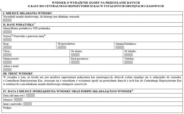 Wniosek o wyrażenie zgody na przesyłanie danych z kasy do centralnego repozytorium kas w ustalonych odstępach czasowych