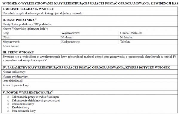 Wniosek o wyrejestrowanie kasy rejestrującej mającej postać oprogramowania z ewidencji kas