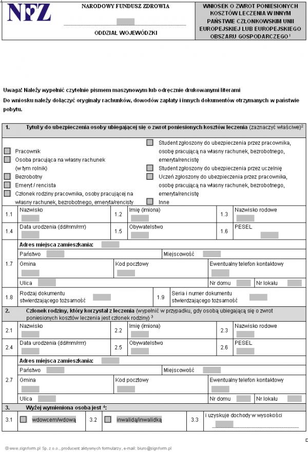 Wniosek o zwrot poniesionych kosztów leczenia w innym państwie członkowskim Unii Europejskiej lub Europejskiego Obszaru Gospodarczego