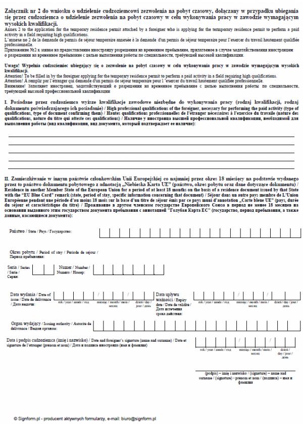 Załącznik nr 2 do wniosku o udzielenie cudzoziemcowi zezwolenia na pobyt czasowy
