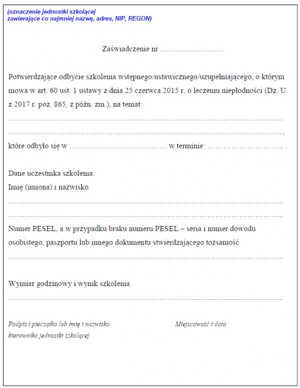 Zaświadczenie o odbytym szkolenia wstępnego/ustawicznego/uzupełniającego