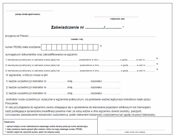 Zaświadczenie przyjęcia wymaganych dokumentów oraz zakwalifikowania na egzamin teoretyczny/praktyczny w zakresie prawa jazdy