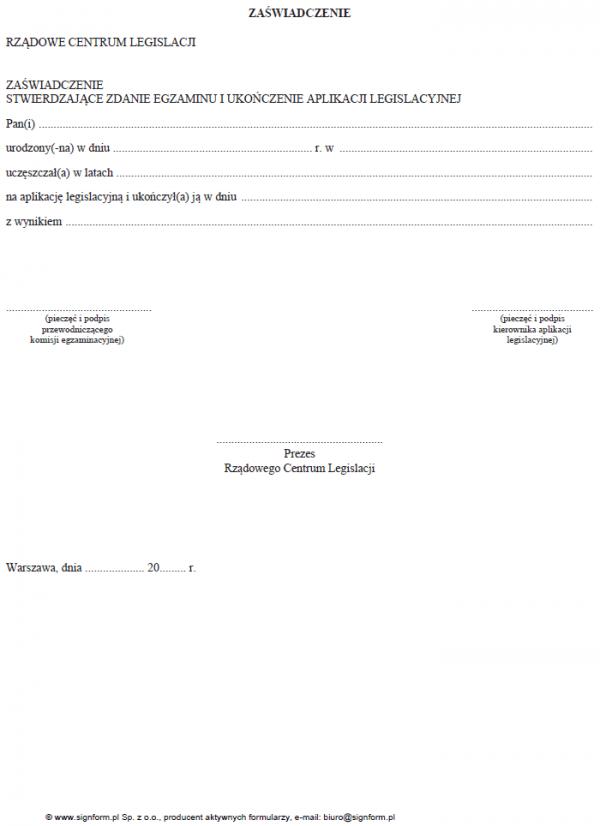 Zaświadczenie stwierdzające zdanie egzaminu i ukończenie aplikacji legislacyjnej