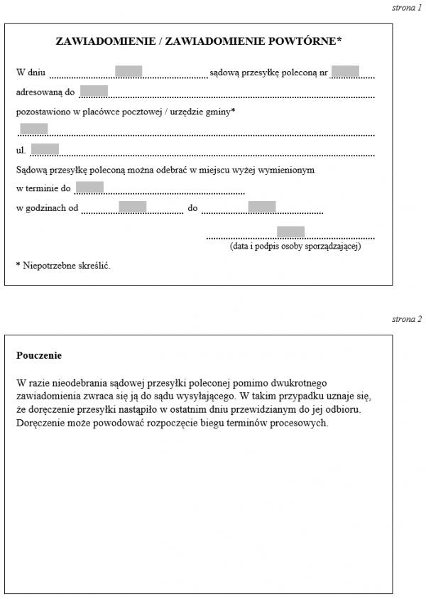 Zawiadomienie o pozostawieniu w placówce pocztowej urzędzie gminy sądowej przesyłki poleconej