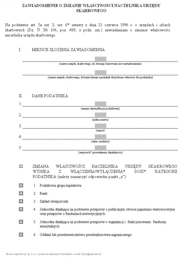 Zawiadomienie o zmianie właściwości Naczelnika Urzędu Skarbowego