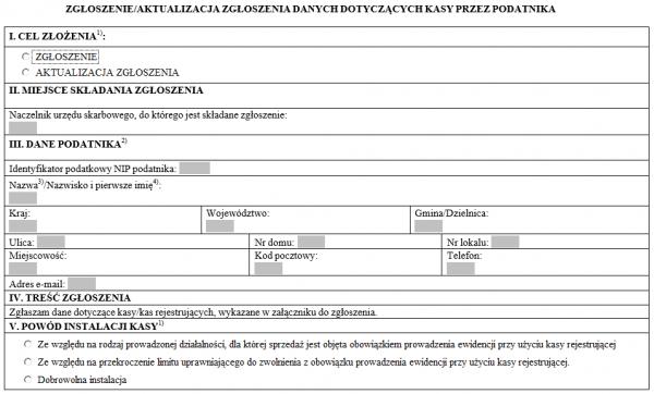 Zgłoszenie danych dotyczących kasy przez podatnika