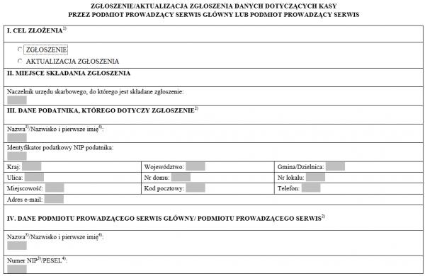 Zgłoszenie danych dotyczących kasy przez podmiot prowadzący serwis główny lub podmiot prowadzący serwis