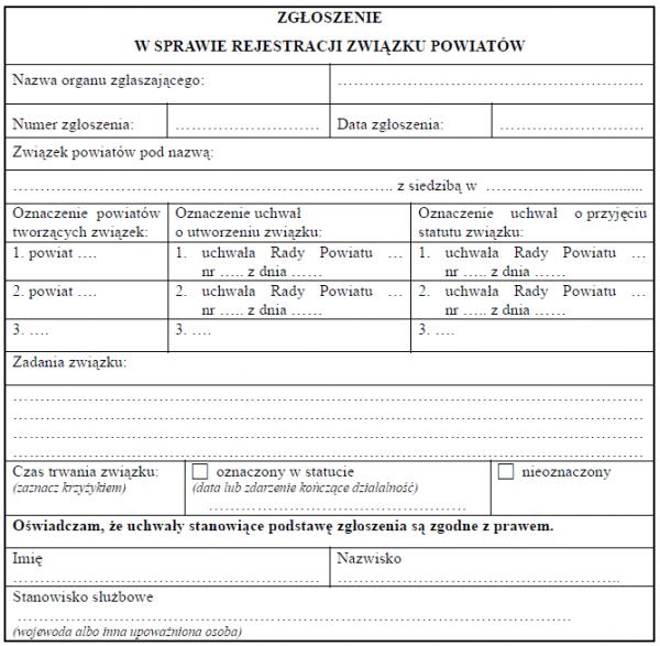 Zgłoszenie w sprawie rejestracji związku powiatów