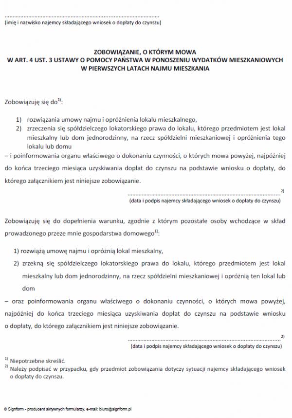 Zobowiązanie, o którym mowa w art. 4 ust. 3 ustawy o pomocy państwa w ponoszeniu wydatków mieszkaniowych w pierwszych latach najmu mieszkania