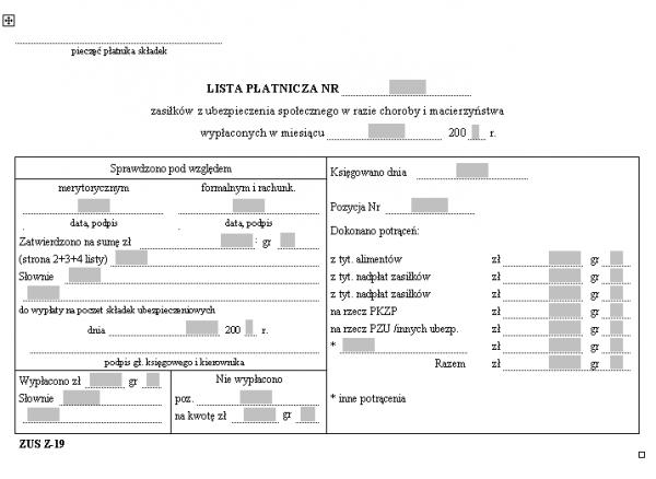 ZUS Z-19 Lista płatnicza zasiłków z ubezpieczenia społecznego w razie choroby i macierzyństwa