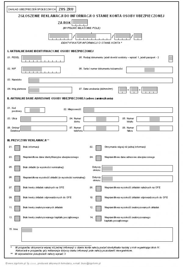 ZUS ZRU - Zgłoszenie reklamacji do informacji o stanie konta osoby ubezpieczonej